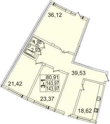 4-к.кв (евро), 144.4 м²