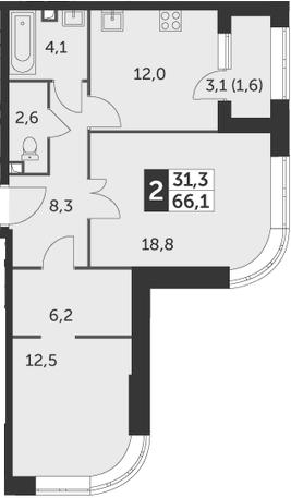 2-комнатная, 66.1 м²– 2