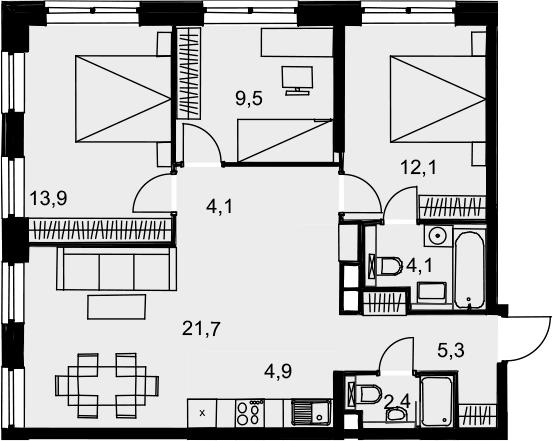 4Е-к.кв, 78 м², 13 этаж