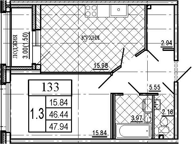 2-к.кв (евро), 49.44 м²