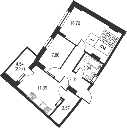 2-комнатная, 52.68 м²– 2