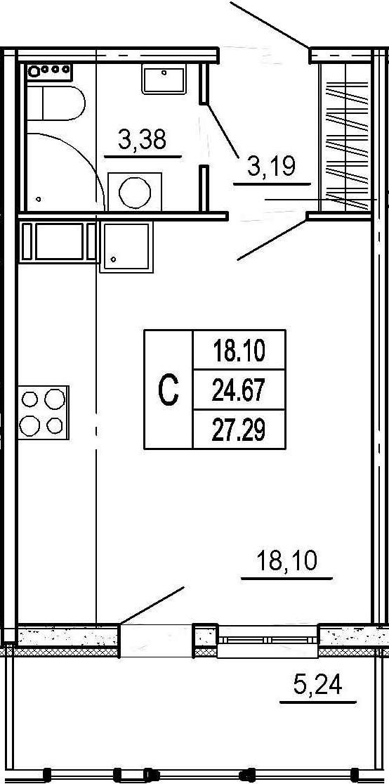 Студия, 24.67 м²