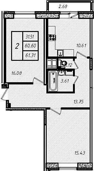 2-к.кв, 61.31 м², 9 этаж