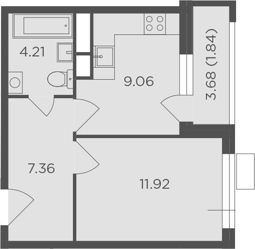 1-комнатная, 34.39 м²– 2