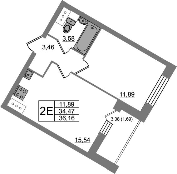 2-к.кв (евро), 37.85 м²