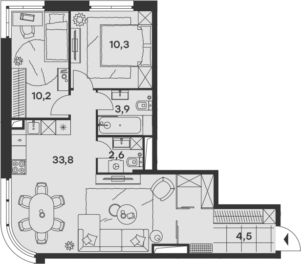 3Е-к.кв, 65.3 м²