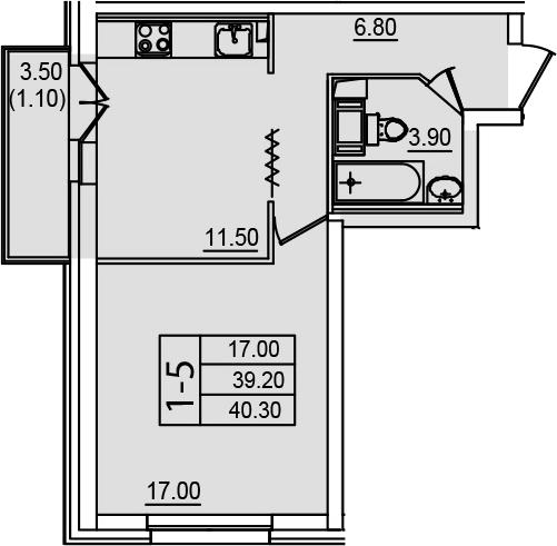 1-к.кв, 42.87 м²