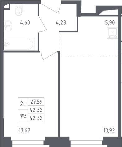 2Е-комнатная, 42.32 м²– 2