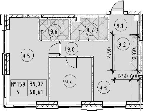 2-к.кв, 60.61 м²