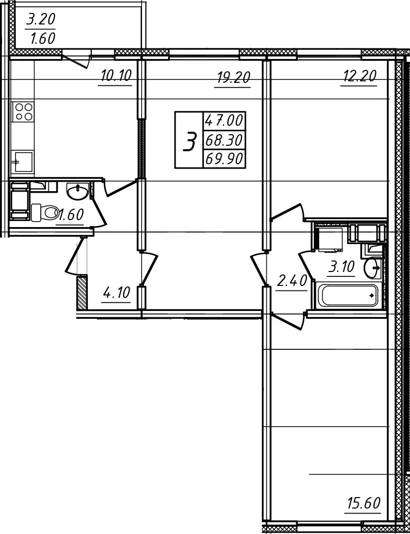 3-к.кв, 69.9 м²