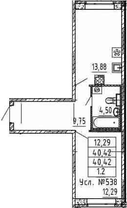 1-комнатная, 40.42 м²– 2
