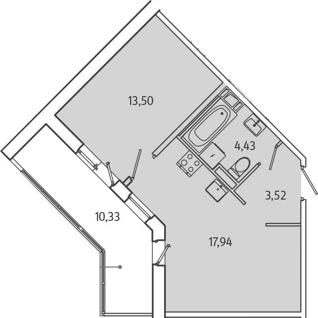 2Е-комнатная, 44.56 м²– 2
