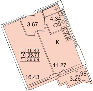 1-комнатная, 36.69 м²– 2
