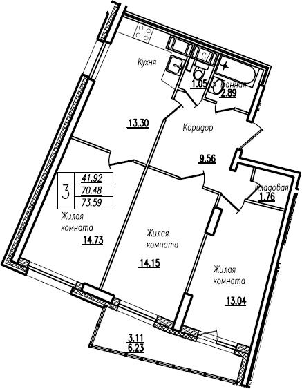 4Е-к.кв, 73.59 м²