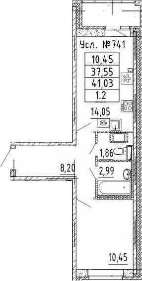 1-к.кв, 37.55 м²