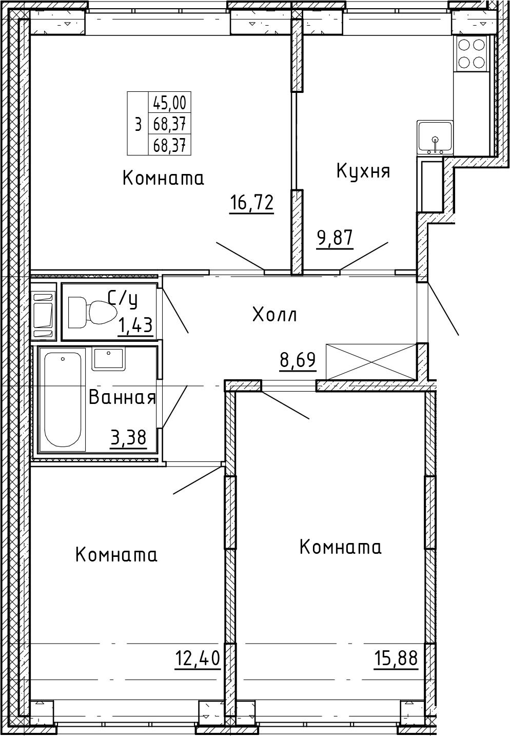 3-комнатная, 68.37 м²– 2