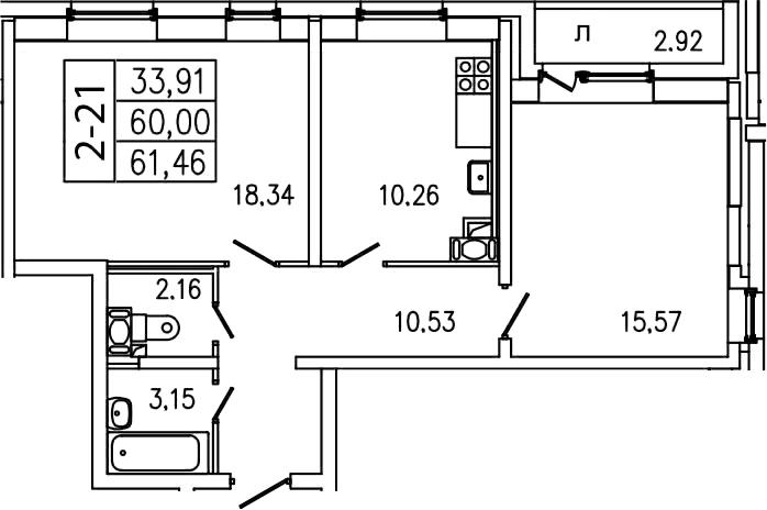 2-комнатная, 61.46 м²– 2