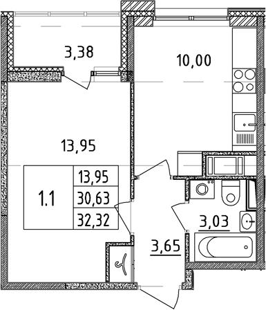 1-к.кв, 30.63 м²