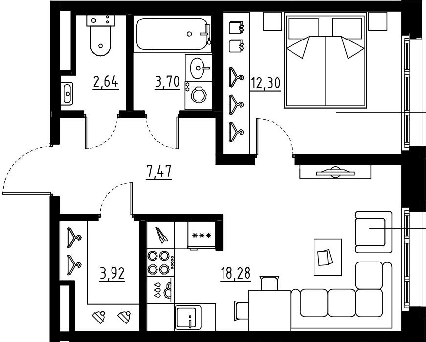 2Е-комнатная, 48.31 м²– 2