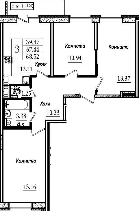 3-к.кв, 71.04 м²