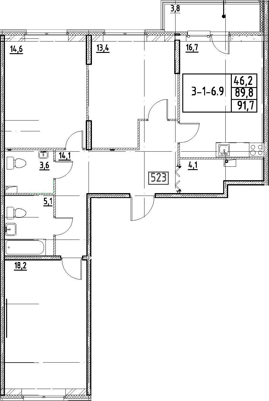 4-к.кв (евро), 93.6 м²