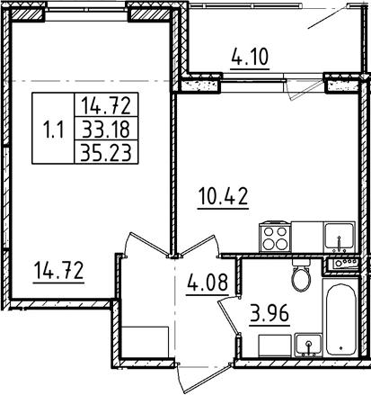 1-к.кв, 35.23 м²