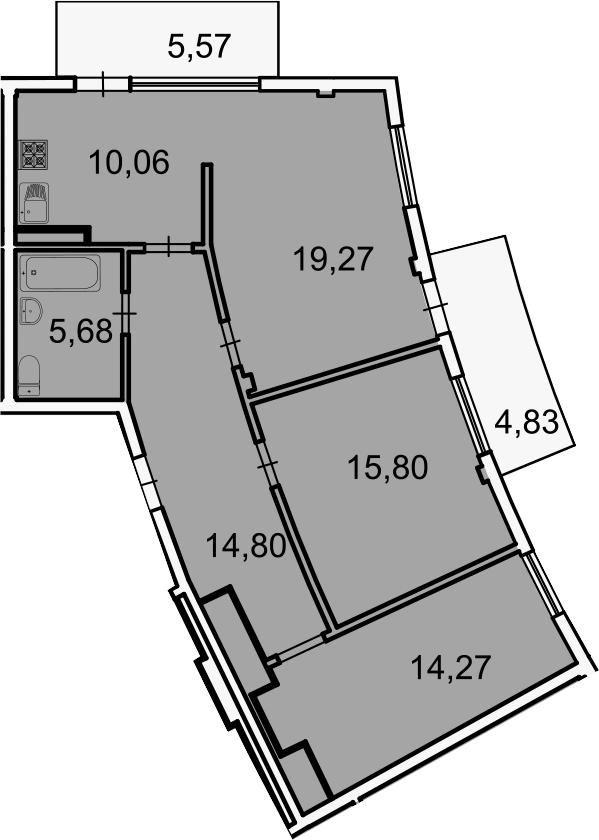3-комнатная, 83 м²– 2