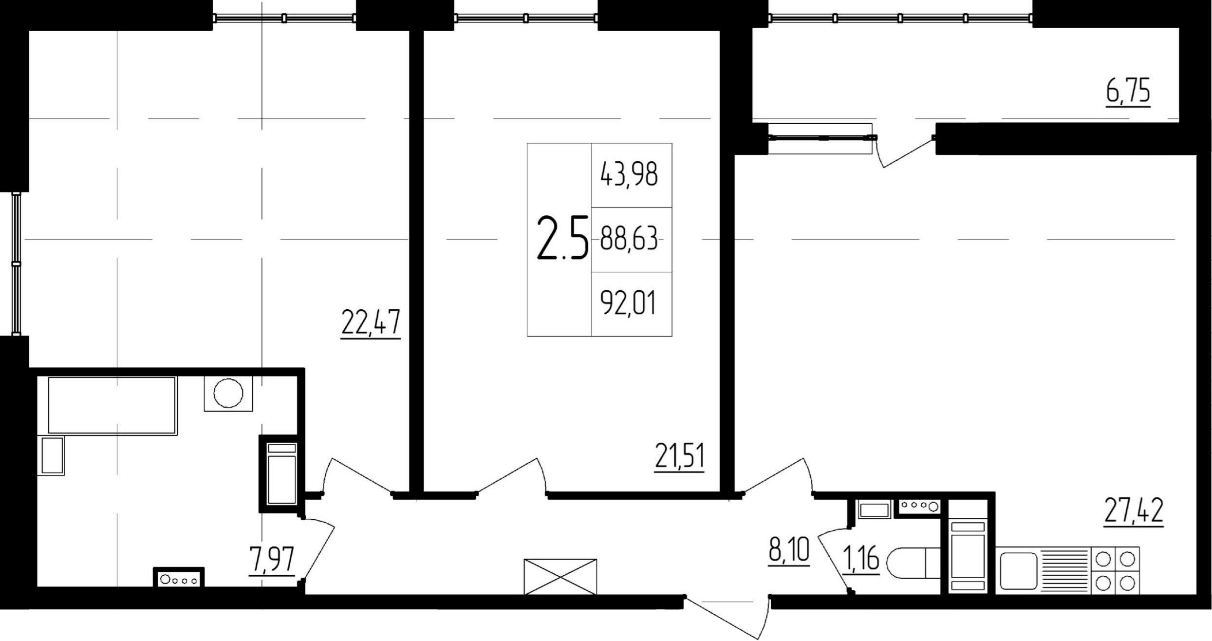 3Е-к.кв, 88.63 м²