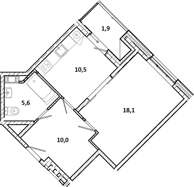 1-к.кв, 48 м²