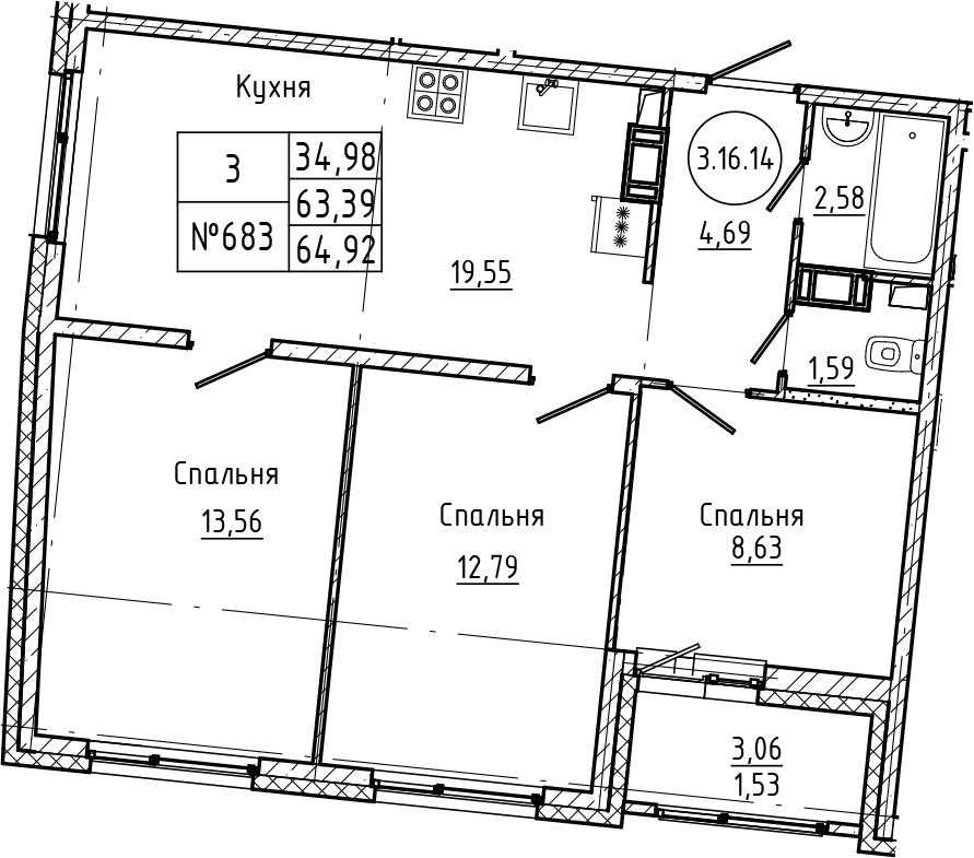 4Е-к.кв, 64.92 м², 16 этаж