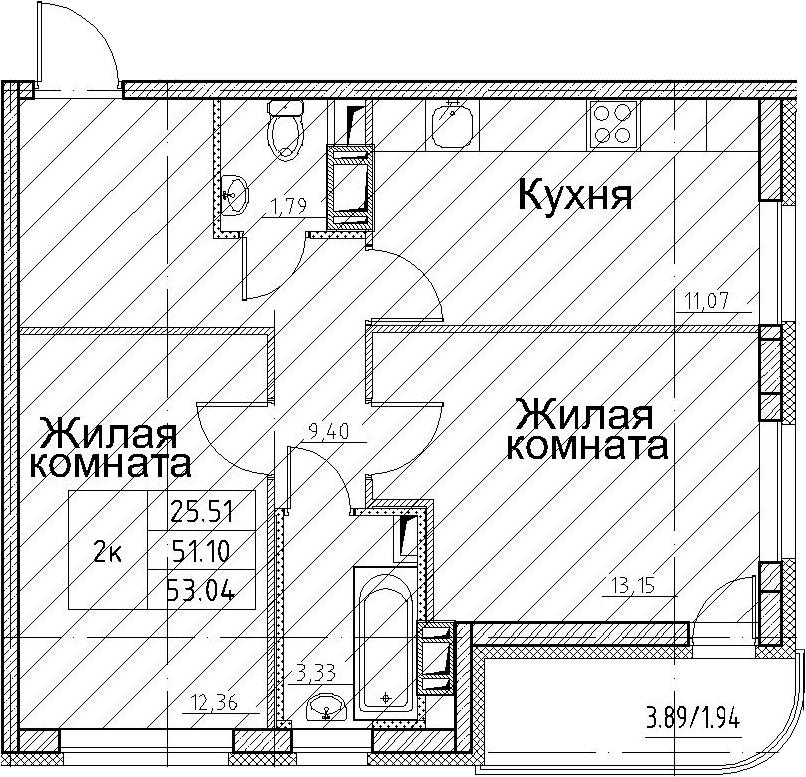 2-комнатная, 53.04 м²– 2