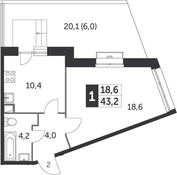 1-комнатная квартира, 43.2 м², 2 этаж – Планировка