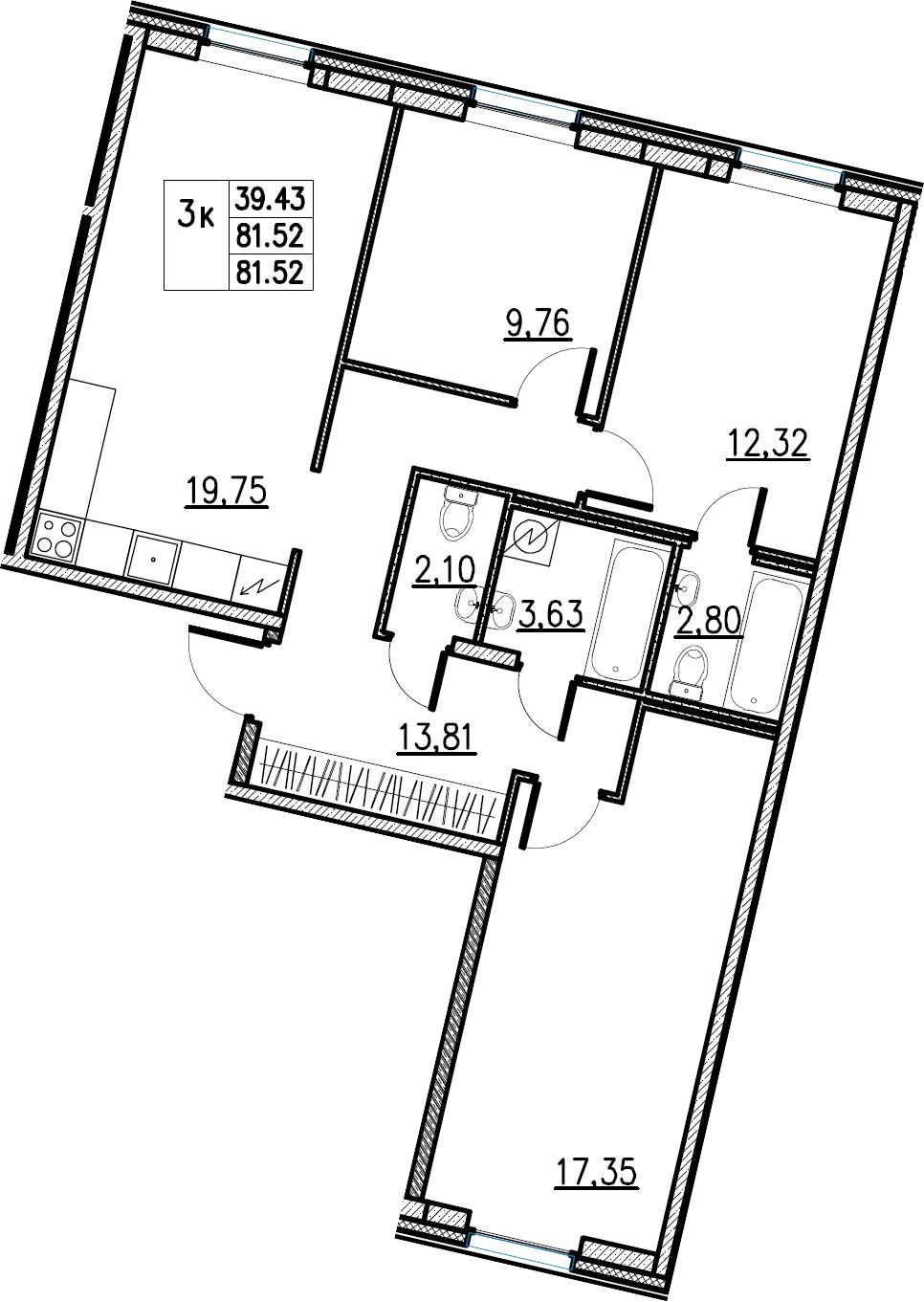 4Е-комнатная, 81.52 м²– 2