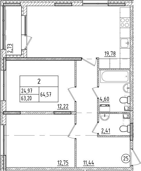 3-к.кв (евро), 65.93 м²