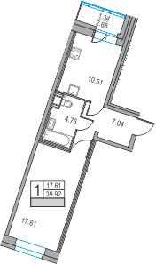 1-к.кв, 39.92 м²