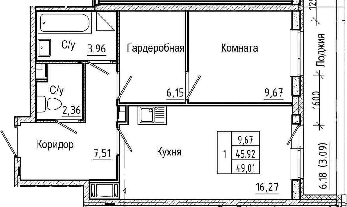 2Е-комнатная, 49.01 м²– 2