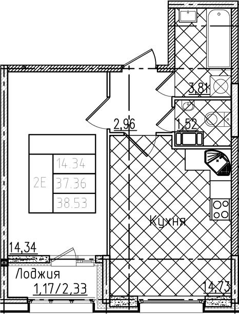 2Е-комнатная, 38.53 м²– 2