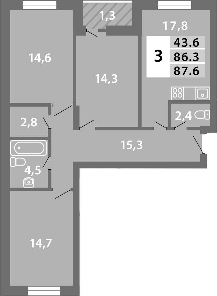 4-к.кв (евро), 88.87 м²