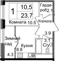 1-к.кв, 37 м²