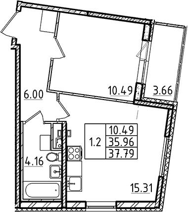 2Е-к.кв, 35.96 м², 2 этаж