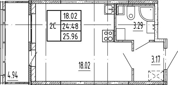 Студия, 24.48 м²