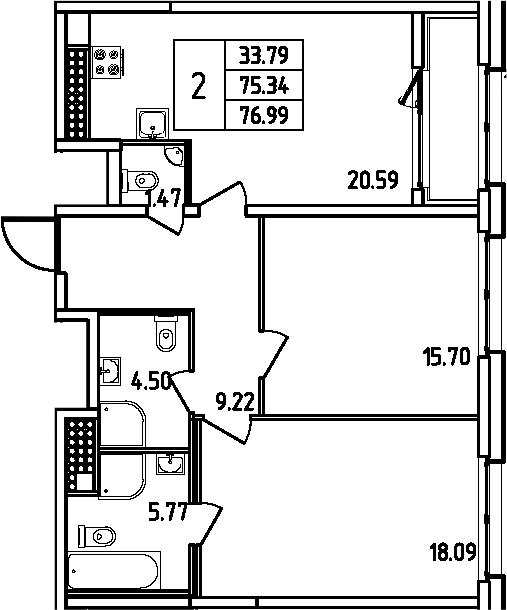 3Е-комнатная, 76.99 м²– 2