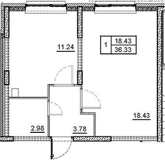 1-к.кв, 36.43 м²