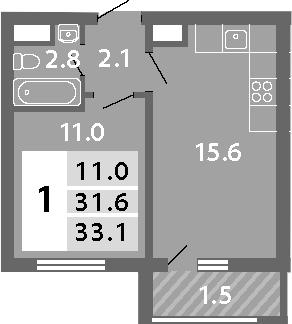 2-к.кв (евро), 34.6 м²