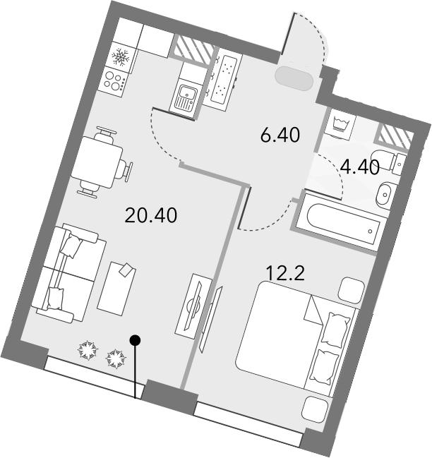 2Е-комнатная квартира, 43.4 м², 8 этаж – Планировка