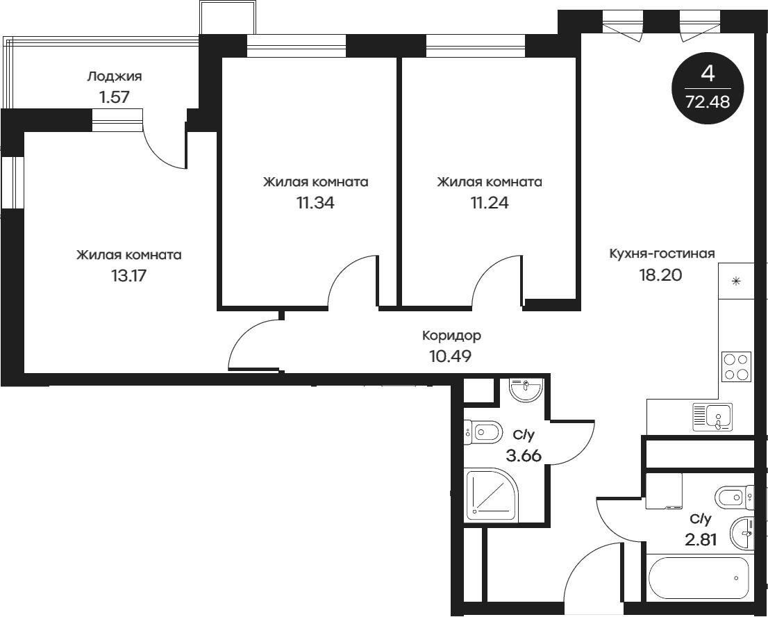 4Е-к.кв, 72.48 м²