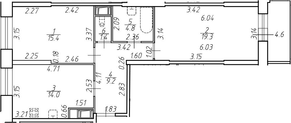 2-к.кв, 64.1 м²
