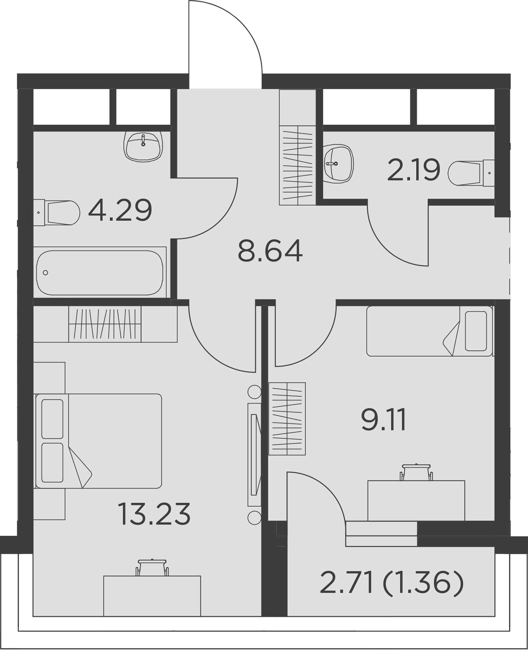 3Е-к.кв, 56.43 м²