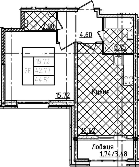2Е-комнатная, 44.51 м²– 2