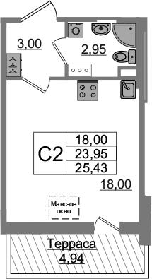Студия, 23.95 м²